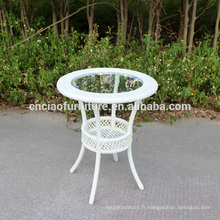 Table basse ronde avec plateau en verre de 5 cm