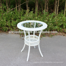 Patio round coffee table with 5cm glass insert top
