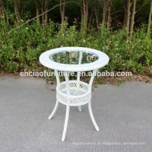 Mesa de centro redonda com tampo de vidro com 5cm