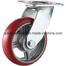 PU fixada / girável em roda de cassete resistente em ferro fundido