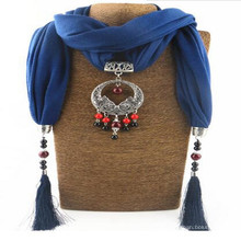 Colgante de diamantes de imitación de las mujeres jeweled chal bufanda collar