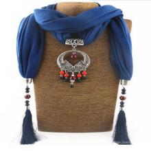 Femmes strass pendentif bijou châle écharpe collier
