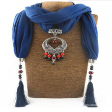 Women Rhinestone Pendant jeweled Shawl Scarf Necklace