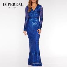 Sequin Royal Blue Fishtail Maxi Designer Socks Fantastic Beijing Evening Dress