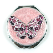Diamant de couleur fantaisie papillon Compact Mirrors