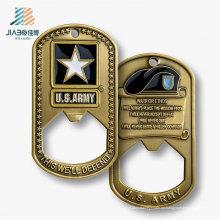 Abrebotellas de encargo del metal de la etiqueta del regalo promocional de la mejor venta para nosotros recuerdo del ejército