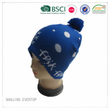 Royal blau Jacquard Pompom Winter Hut