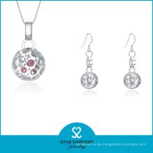 Mode Silber Ohrring und Halskette Schmuck für die Dame (J-0167)