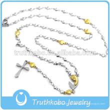Выдалбливают Вакуум Сердца Плакировкой Золота Цепи Религиозных Ожерелье С Вытравленный Племенной Узор Девы Марии Крест Кулон Ювелирные Изделия
