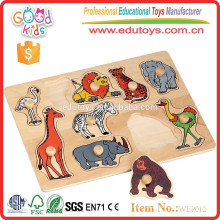 2015 Best eco-friendly animal wooden puzzle with peg