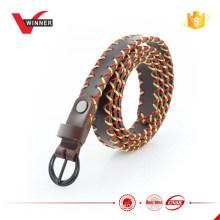 Cinturão de couro skinny vintage de design de fábrica