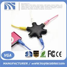 6 Manera 6 Port 3.5MM Auriculares Híbrido del divisor del receptor de cabeza y cable Estéreo Poste Libre