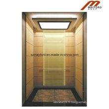 Ascenseur de passager d'acier inoxydable de titane avec la salle des machines