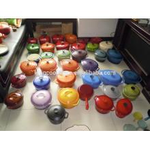 type pot de batterie de cuisine en fonte de revêtement en émail de couleur ronde / ovale écologique