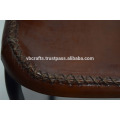 Industrial Leather Chair, Cross Stiched Seat Brown Color