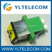 Longo Flange FTTH LC fibra óptica Adaptador DX com pó de Metal Cap obturador removível