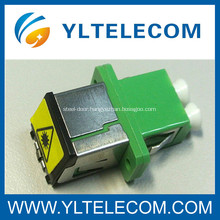 Long Flange FTTH LC fiber optical adapter DX with Metal Dust Cap Removable Shutter