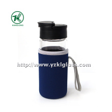 Glass Bottle with Neoprene Fabrication Oversleeve PP Lid