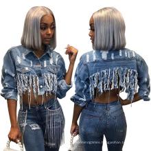 Wholesale Plus Size Denim Women Cotton Make Old Hole Tassels Jeans Jacket