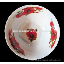 Tazón de fuente grande de cerámica de moda con la calcomanía
