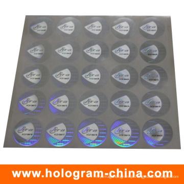 Adesivo de holograma de número de série evidente de calcadeira de prata