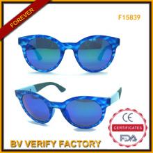 Italia diseño alta calidad mujeres Sungalsses con lente azul (F15839)