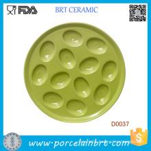 Commonly Used Green Porcelain Egg Plate Holds 12 Eggs