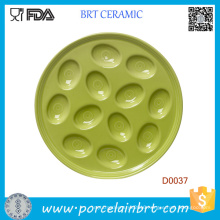 Commonly Used Green Porcelain Egg Plate Holds 12 Eggs
