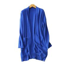 Abrigo largo de cachemira de la moda de las mujeres sin botones gruesas abrigos de punto cardigan de manga larga con cuello en V