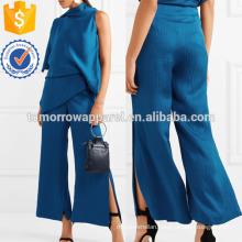 Cobalt-blue Hammered Silk-satin Wide-leg Pants Manufacture Wholesale Fashion Women Apparel (TA3033P)