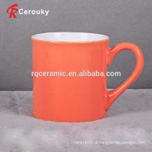 Laranja cor 350ml caneca de cerâmica de leite de grés
