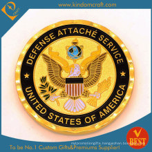 High Quality Zinc Alloy Stamping Soft Enamel Us Defense Souvenir Coin with Gold Plating