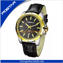 Hot Selling Quartz Luxury Brand Watch with Genuine Leather Band