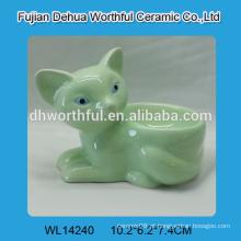 Elegante raposa verde em forma de bandeja de ovo de cerâmica, titular de ovo de cerâmica
