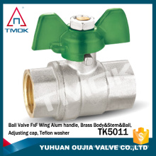 TMOK TK-5013 medium pressure brass ball valve nickel plated with red wing red aluminum wing handle for water oil gas