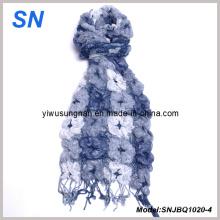 2014 suave moda de rayas flacas comprobado invierno cálida bufanda de burbujas de volantes