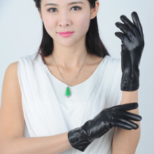 Plain Sex Ladies Leather Gloves ,Black Women Leather gloves with two Buttons on the Wrist