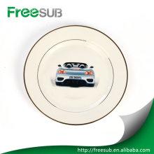 """8"""" plaques de céramique blanc double jante or personnalisée"""