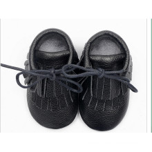 Black Tassel Paragraph: Leather Baby Shoes