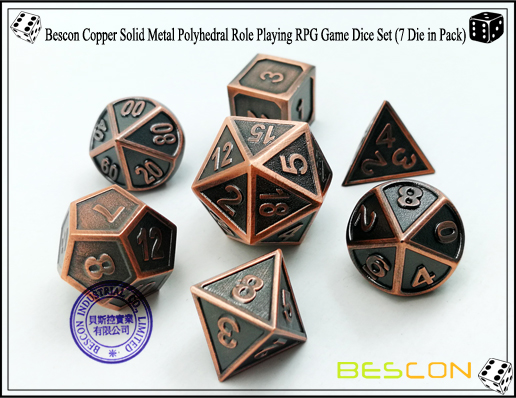 Bescon Copper Solid Metal Polyhedral Role Playing RPG Game Dice Set (7 Die in Pack)-1