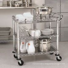 Adjustable Commercial Kitchen Wire Metal Trolley with Wheels