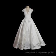 2017 роскошные кружева атласная свадебное платье а-линия бальное платье Cap рукавом V шеи свадебные платья Tiamero 1A1407