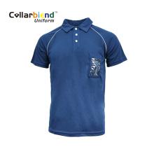Camiseta azul marinho de desgaste de trabalho com bolso para cartão