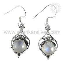 Indian Graceful Rainbow Moon Stone Earring 925 Sterling Silver Atacado Jóias Handmade Online Silver Jewelry