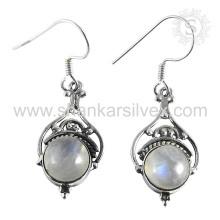 Indian Graceful Rainbow Moon Stone Earring 925 Sterling Silver Atacado Jóias Handmade Online Silver Jewelry