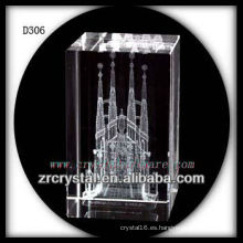 Arquitectura grabada con láser K9 3D dentro de rectángulo de cristal