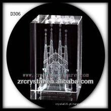 Arquitetura gravada K9 3D do laser dentro do retângulo de cristal