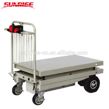 Portable Hydraulic Electric Table Truck, Battery operated scissor lift table truck