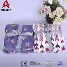 Fast delivery new design printed super soft double layer flannel thick spanish fleece blanket with sherpa