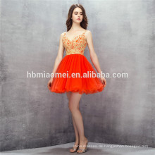 2017 New fashion short design abendkleid tüll v-ausschnitt backless red brautjungfer kleider mit gold spitze